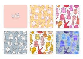 Sats med söt sömlös kaktusmönster bakgrund. Vektor illustrationer för presentförpackning design.