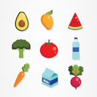Gesunde Lebensmittel-Ikonen-Vektor-Satz