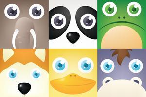 djur ansikte vektor pack