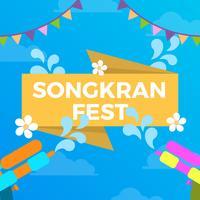 Flat Colorful Songkran Festival Vector Banner Illustration