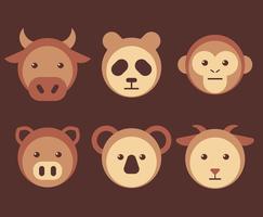 djur ansikten set vektor