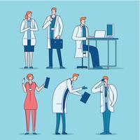 Läkare och sjuksköterskor i uniform vektor