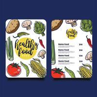Gesundes Lebensmittel-Menü-Vektor-Design vektor