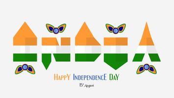 Glücklicher Unabhängigkeitstag des Indien-Landes und der Inder mit Element des Pfaus. Vektorillustrationsdesign lokalisiert auf weißem Hintergrund.