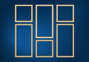 Satz des dekorativen Rahmenbildes mit Goldgrenze, Vektordesign auf blauem Hintergrund mit Kopienraum im erstklassigen Konzept. vektor