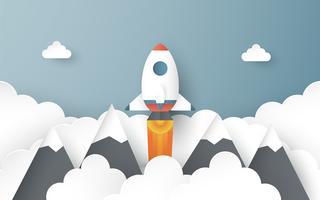 Vektor illustration med startkoncept i pappersskärning, hantverk och origami stil. Raket flyger på blå himmel. Mall design för webb banner, affisch, omslag, reklam. 3D konsthantverk för barn.