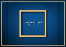 Goldener klassischer Rahmen auf blauem Steigungshintergrund. vektor