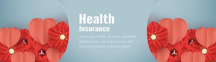 Vektorillustration im Konzept der Krankenversicherung. Schablonendesign ist auf blauem Pastellhintergrund in der Schnittart des Papiers 3D.