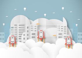 Vector Illustration mit beginnen oben Konzept in der Papierschnitt-, Handwerks- und Origamiart. Rakete am Himmel.