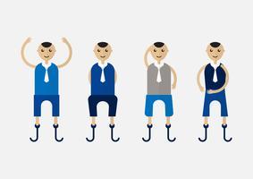 Charakterdesign der Behinderungsperson, die Geschäftsmann mit blauem Stoff ist.
