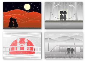 Set von Szenen für Liebespaare in verschiedenen Zeiten.