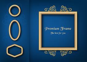 Gyllene klassiska ram på blå gradient bakgrund. vektor
