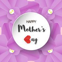 Template-Design für den glücklichen Muttertag. Vektorillustration im Papierschnitt und in der Handwerksart. Dekorationshintergrund mit Blumen für Einladung, Abdeckung, Fahne, Reklameanzeige. vektor