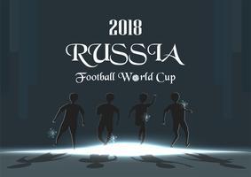 Udonthani, THAILAND - 17 april 2018: FIFA världscup bakgrund i 2018, Ryssland. Tecken vektor design med sportsman.