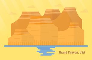 Arizona in USA Sehenswürdigkeiten für das Reisen mit Grand Canyon National Park, Berg und Wasser. Vector Illustration mit Kopienraum und Aufflackern des Lichtes auf gelbem und orange Hintergrund.