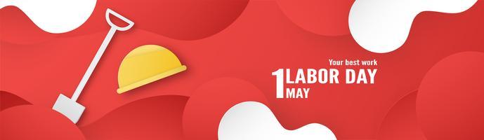 Happy Labour Day am 1. Mai von Jahren. Template-Design für Banner, Poster, Cover, Werbung, Website. Vector Illustration im Papierschnitt und machen Sie Art auf rotem Hintergrund in Handarbeit.