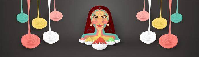 Glad Holi, Färgfestivalen. Mallelementdesign för mall, banner, affisch, hälsningskort. Vektor illustration i pappersskärning, hantverk, origami typ med platt lay stil.