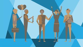 Glücklicher Tag des Chefs auf abstraktem Hintergrund mit Chefmann und -angestellter, die auf blauem Polygonhintergrund sind. Charakter des Vektordesigns für moderne Modezeitschrift.