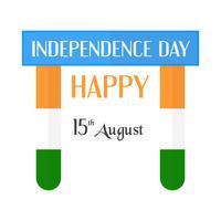 Glücklicher Unabhängigkeitstag des Indien-Landes und der Inder. Vektorillustrationsdesign lokalisiert auf weißem Hintergrund.