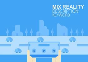 """Virtuelle Realität und gemischte Realität auf dem Handy. Vector Illustration im Konzept """"des Änderns des Autos zum Geld"""", das auf blauem Hintergrund mit flacher Stadt lokalisiert wird."""