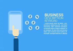 Bargeld durch Internetbanking mit E-Commerce und Zahlungsmethode erhalten. Vektorabbildung getrennt auf blauem Hintergrund.