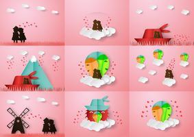 Liebespaare halten die Hände. Vector Design im Papierhandwerk mit Schlagschatten für Valentinstag.