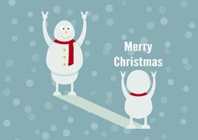 Snögubbefamiljporträtt på blå bakgrund för God jul den 25 december. Sonen blir far. vektor