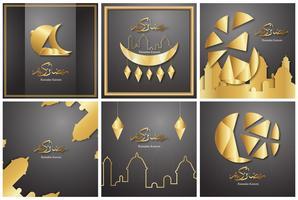 Paketmall för Ramadan Kareem med svart och guldfärg. 3D vektor design i pappersskärning och hantverk för islamiskt hälsningskort, inbjudan, bokomslag, broschyr, webb banner, annons.