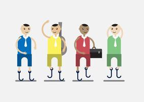 Charakterdesign der Behinderungsperson, die Geschäftsmann und Musiker mit dem bunten Stoff lokalisiert auf grauem Hintergrund ist.