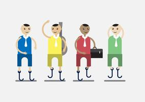 Tecken design av invalid person som är affärsman och musiker med färgstark tyg isolerad på grå bakgrund.