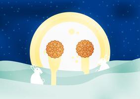 Mittlerer Autumn Festival für Chinesen im flachen Design. Vector Illustration auf blauem Hintergrund mit Mond, Kaninchen, Mooncakes.