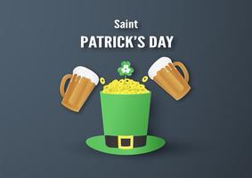 Vorlage für St. Patrick's Day am Sonntag, 17. März. Vektor-Illustration in 3D-Papierschnitt und Handwerk Stil.