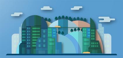 Pop up design av stadsbyggnader och framtida stad med blå himmel och moln. Vektor illustration med platt stad i pappersformat stil. Trend av landmärke för centrum av världen och stort land.