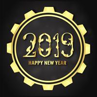 Vektor illustration för Gott nytt år 2019. Det är år av grisen. Abstrakt mall med gulddesign för ceremoni i slutet av året.