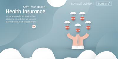 Vektor illustration i begreppet sjukförsäkring. Malldesign är på pastellblå bakgrund för täckning, webbbanner, affisch, bildpresentation. Konsthantverk för barn i 3D-pappersklippt stil.