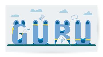 Vektor design i konceptet Happy Guru Purnima isolerad på vit bakgrund. Platt färg med blå ton.