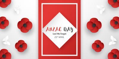 Glücklicher Anzac-Tag am 25. April für diejenigen, die im Krieg in Australien und Neuseeland gedient haben und gestorben sind. Schablonenelementdesign für Fahne, Plakat, Gruß, Einladung. Vektorillustration im Papierschnitt, Handwerksart.