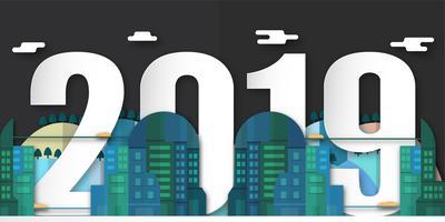 Dekoration des guten Rutsch ins Neue Jahr 2019 nachts mit städtischer Stadt. Vector Illustration im Papierschnitt und im digitalen Handwerk mit Minimalismusart.