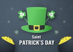 Mall för St Patrick's Day söndag den 17 mars. Vektor illustration i 3D-pappersklippning och hantverk stil.