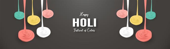 Happy Holi, Fest der Farben. Schablonenelementdesign für Schablone, Fahne, Plakat, Grußkarte. Vector Illustration im Papierschnitt, Handwerk, Origamiart mit flacher Lageart.