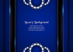 Abstrakt blå bakgrund i premium indisk stil. Malldesign för omslag, företagspresentation, webbbanner, bröllopsinbjudan och lyxförpackning. Vektor illustration med guldgräns.