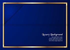 Abstrakter blauer Hintergrund im erstklassigen Konzept mit goldener Grenze. Template-Design für Cover, Business-Präsentation, Web-Banner, Hochzeitseinladung und Luxusverpackungen.