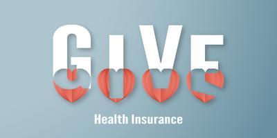Vektorillustration im Konzept der Krankenversicherung. Schablonendesign ist auf blauem Pastellhintergrund in der Schnittart des Papiers 3D. vektor