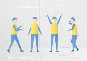 Charakterdesign mit den zukünftigen Leuten lokalisiert auf Technologiehintergrund.