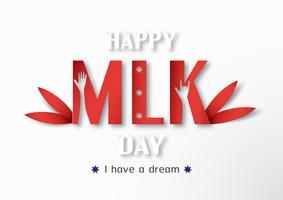 Thailand, Udonthani - 16. Januar 2019: Glücklicher Tag Martin Luther Kings Jr. mit Papierschnitt und Handwerksart. Vector Illustration für Hintergrund, Fahne, Plakat, Werbung, Einladungskarte und Schablone.