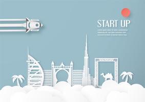 Vektor illustration med startkoncept i pappersskärning, hantverk och origami stil. Raket på himlen.