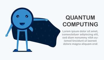 Karaktärsdesign i begreppet Quantum Computing. Vektor illustration om framtida teknik för datorsystem för webb banner, maskot skapare, omslag och mall.