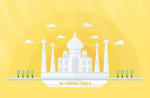 Indien Sehenswürdigkeiten für Reisen mit Taj Mahal und Bäumen. Vector Illustration mit Kopienraum und Aufflackern des Lichtes auf gelbem und orange Hintergrund.