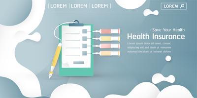 Vektor illustration i begreppet sjukförsäkring. Mallelementdesign är på pastellblå bakgrund för täckning, webbbanner, affisch, bildpresentation. Konsthantverk för barn i 3D-pappersklippt stil.