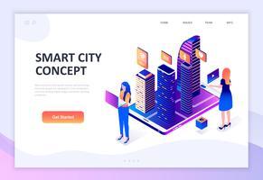 Isometrisches Konzept des modernen flachen Designs der intelligenten Stadt-Technologie